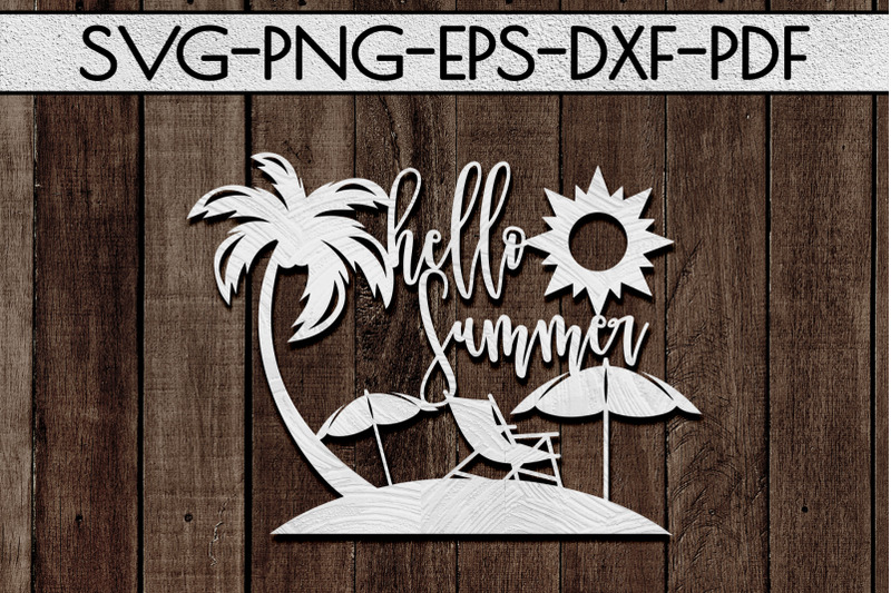 hello-summer-papercut-template-beach-house-decor-svg-dxf