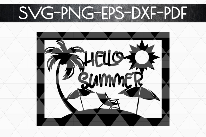 hello-summer-papercut-template-beach-house-decor-svg-dxf