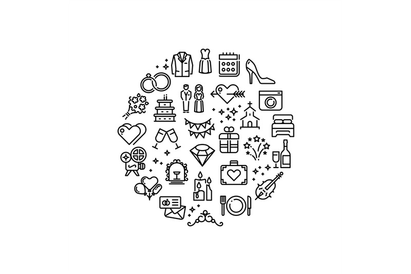 wedding-party-fun-outline-vector-icons