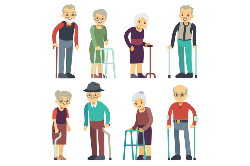 old-people-cartoon-vector-characters-set-senior-man-and-woman-couples