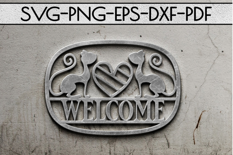 welcome-cat-sign-papercut-template-cat-house-decor-svg-dxf