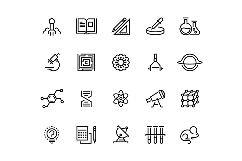 science-line-icons-laboratory-equipment-physics-chemical-biology-rese