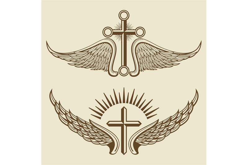 vintage-cross-and-wings-vector-elements