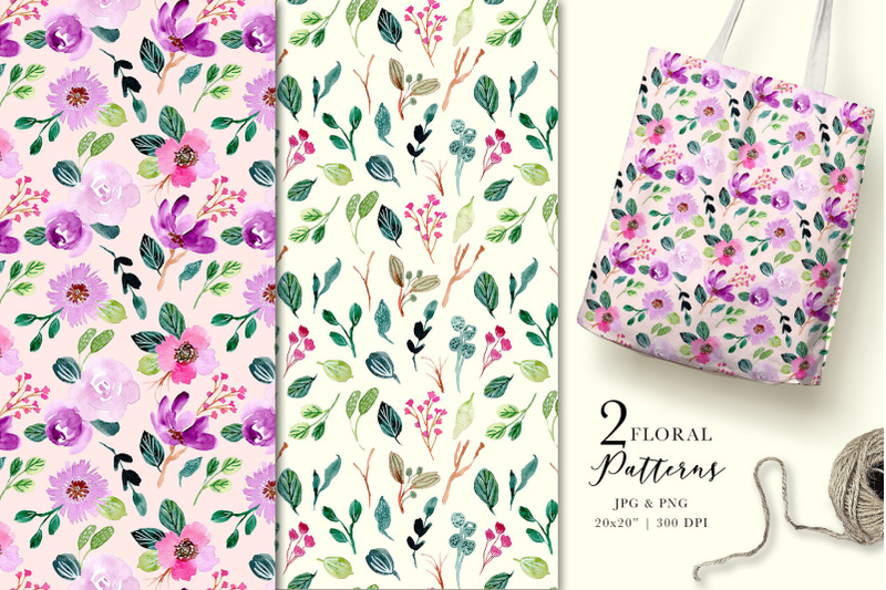 purple-vibes-watercolor-floral-clipart