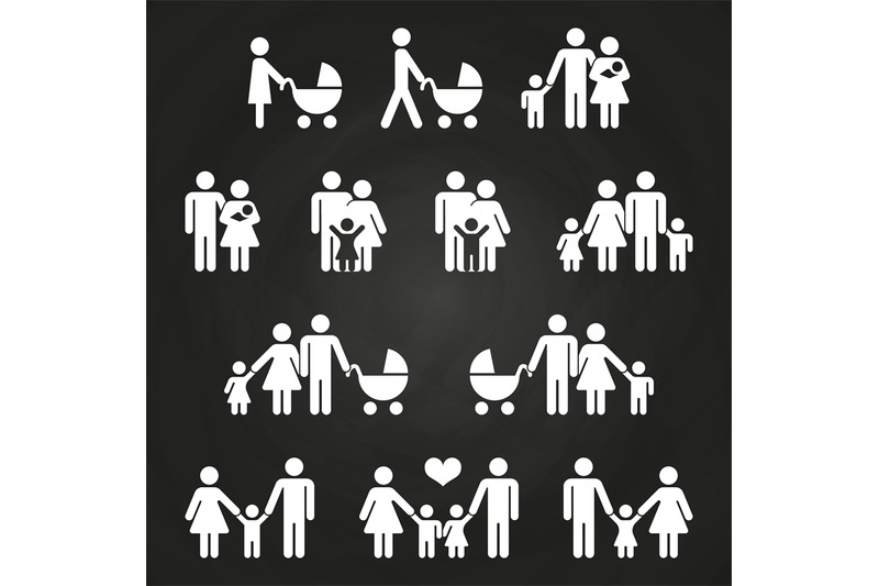 baby-and-parents-outline-icons-design-white-family-pictograms