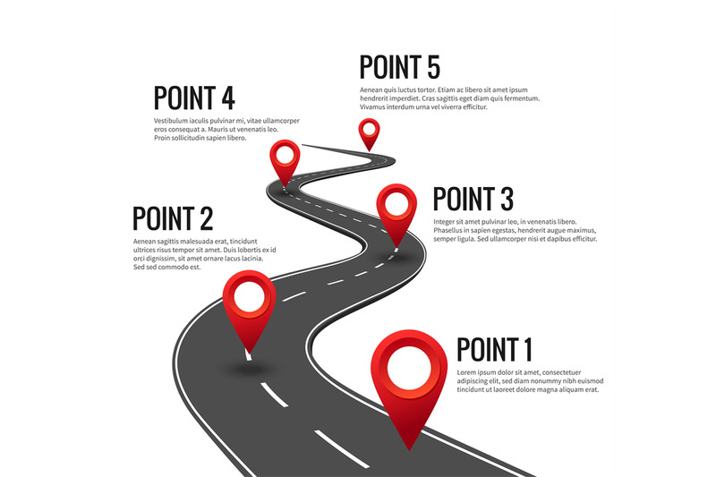 road-infographic-curved-road-timeline-with-red-pins-checkpoint-strat