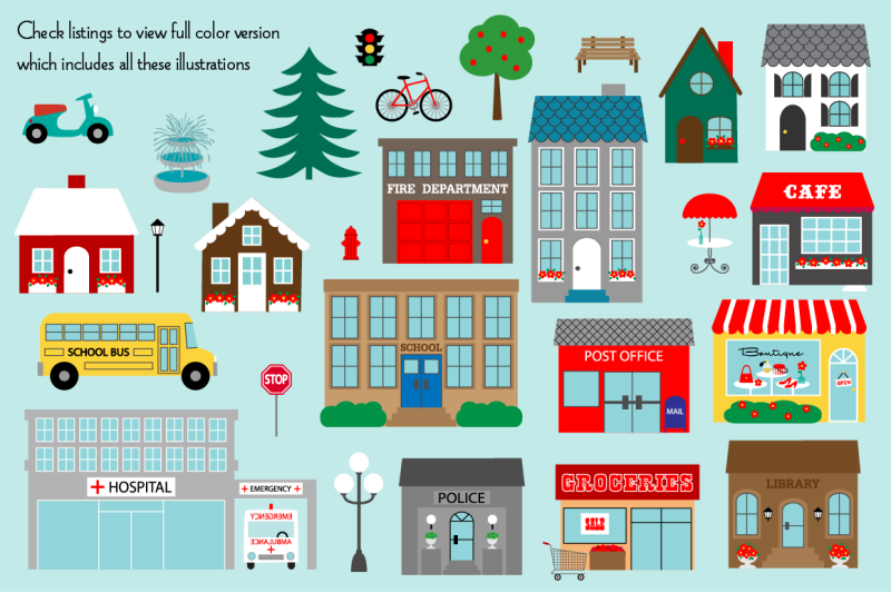 town-buildings-digital-stamps-clipart