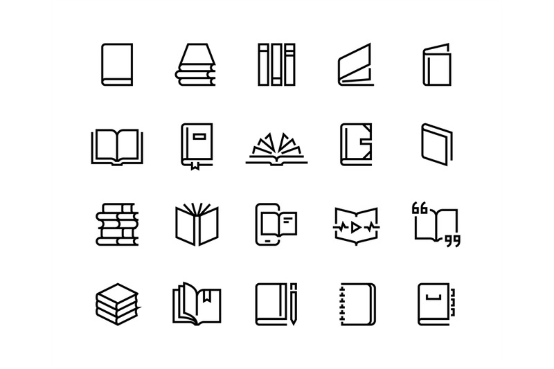 book-line-icons-open-magazine-library-education-set-bookstore-order