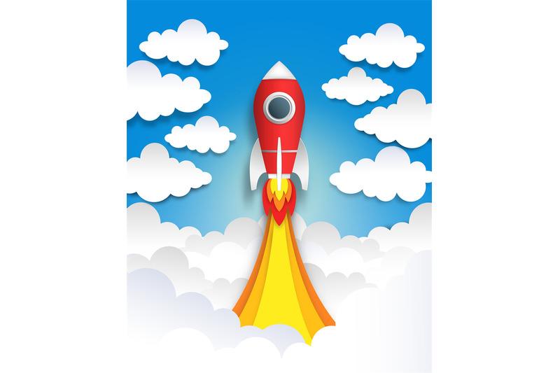 Paper Cut Rocket. Origami Space Art, Flat Cartoon Pastel