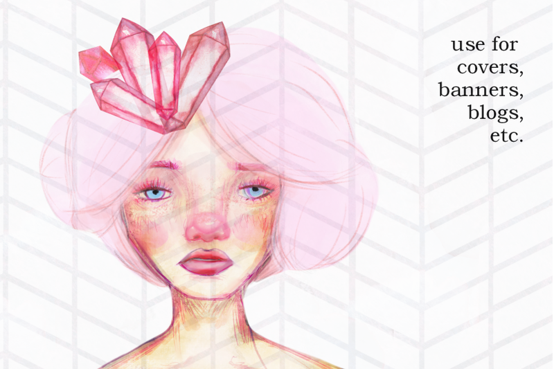 illustration-of-a-girl-in-pink-artsy-doodle-style