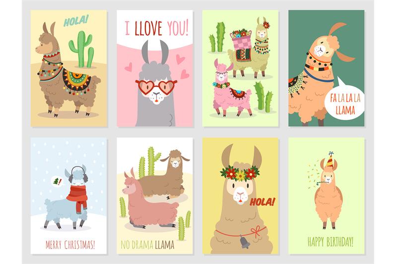 llama-cards-baby-llamas-cute-alpaca-and-cacti-wild-lama-peru-camel