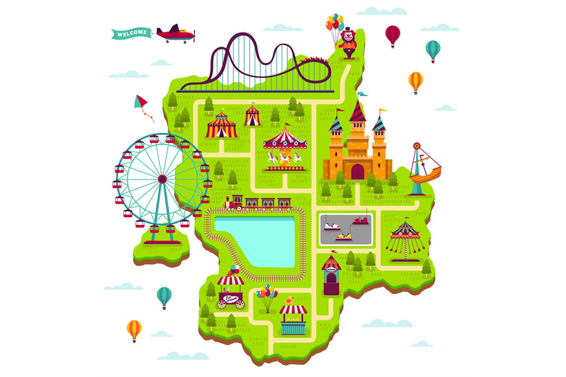 amusement-park-map-scheme-elements-attractions-festival-amuse-funfair