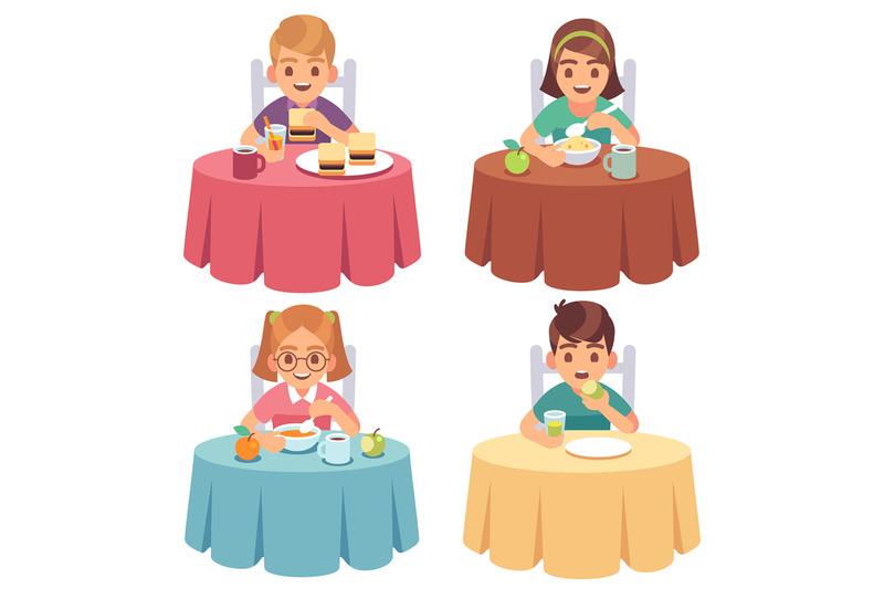 children-eating-kids-eat-dinner-table-child-breakfast-lunch-fast-food