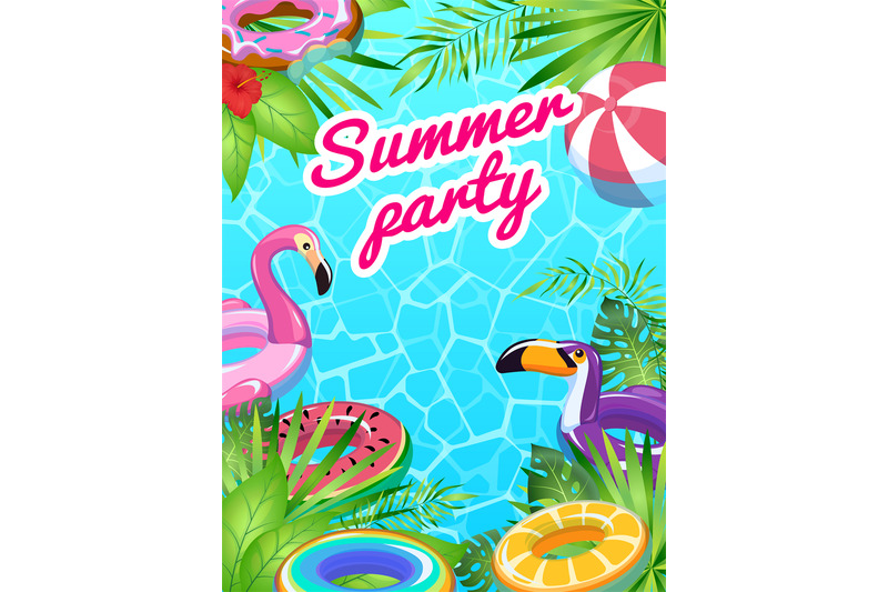 pool-party-card-swim-summer-inflatable-toys-poster-fun-tropical-beach