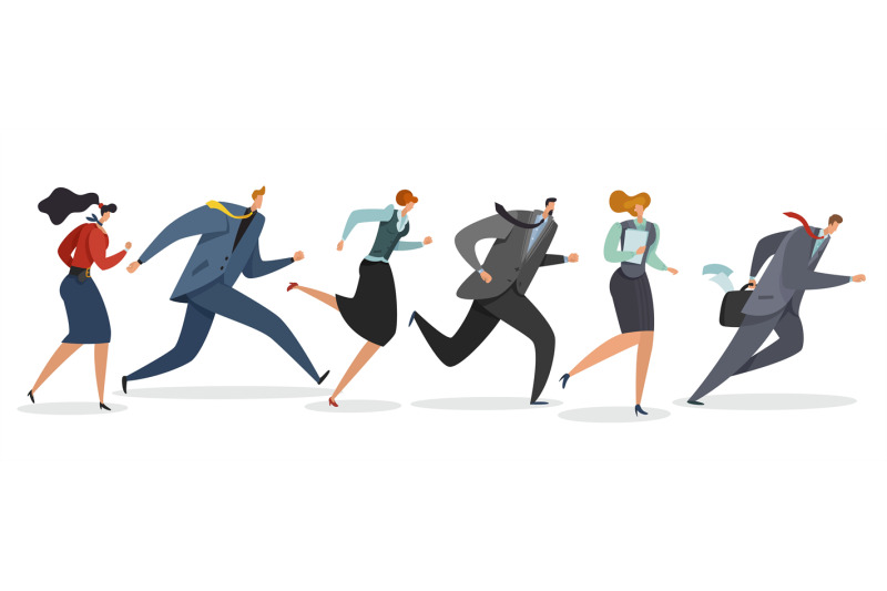 business-team-running-persons-waving-flag-and-jogging-follow-leader-t