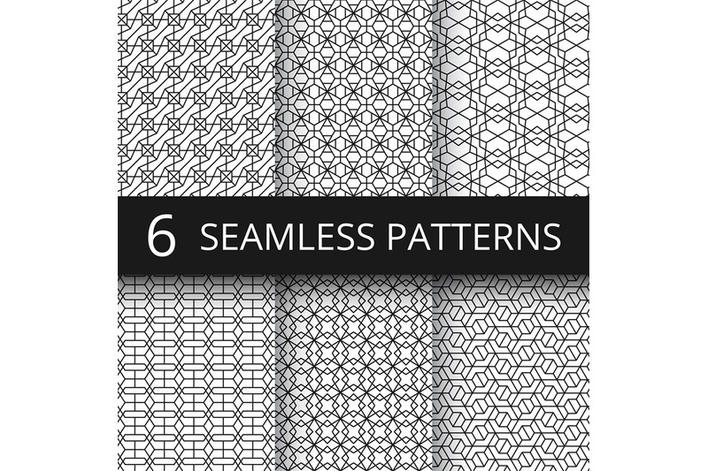 monochrome-line-geometrical-vector-seamless-patterns-delicate-simple