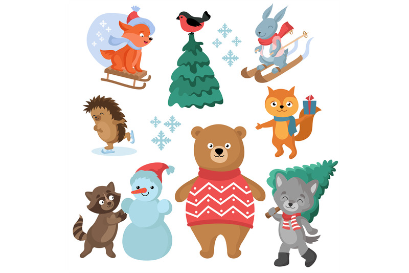 christmas-and-winter-holiday-funny-animals-vector-collection