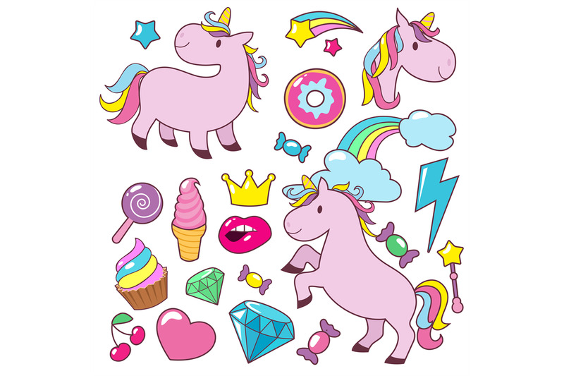 magic-cute-unicorns-baby-horses-vector-character-collection