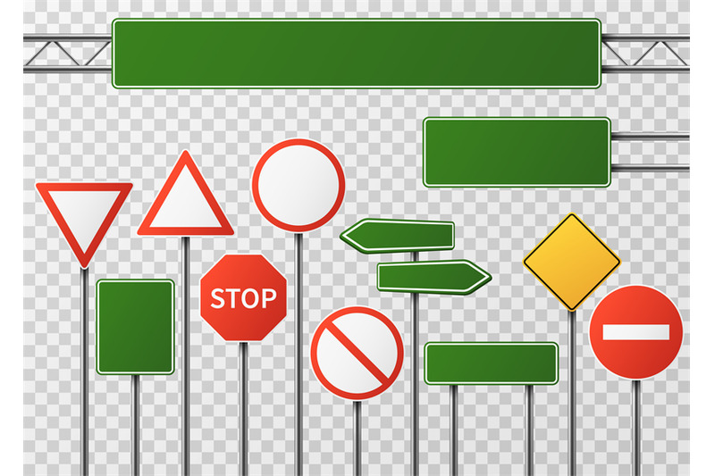 blank-street-traffic-and-road-signs-vector-set-isolated