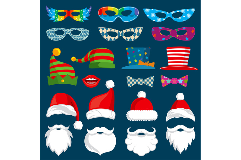 happy-new-year-and-christmas-holiday-paper-photobooth-props-isolated-v