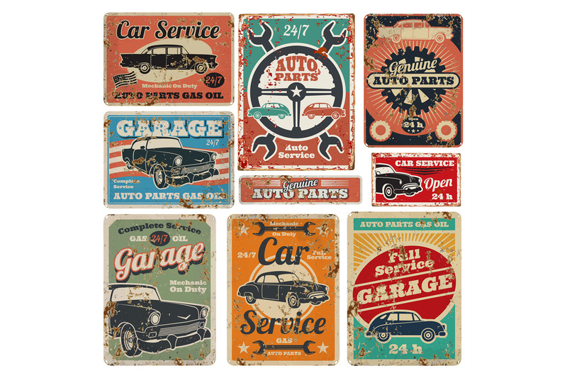 vintage-road-vehicle-repair-service-garage-and-car-mechanic-advertisi
