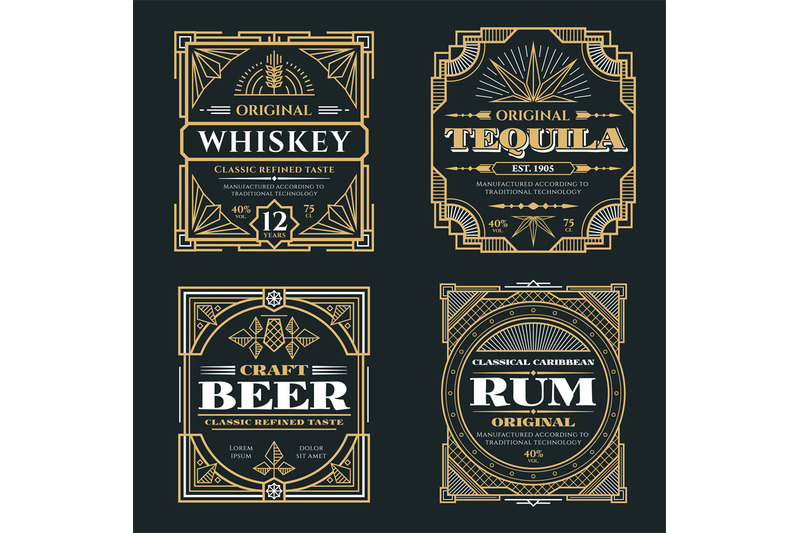 vintage-whiskey-and-alcoholic-beverages-vector-labels-in-art-deco-retr
