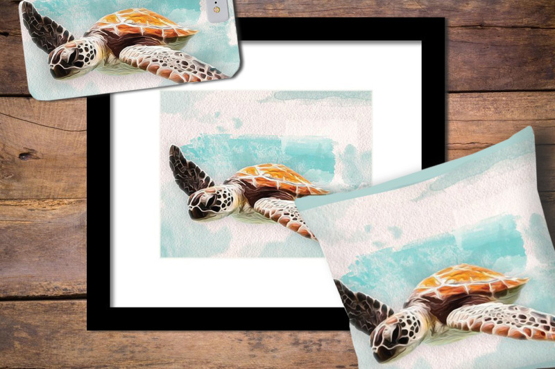 ocean-sea-turtle-in-oil-and-watercolor-paint-style-illustration-of-a
