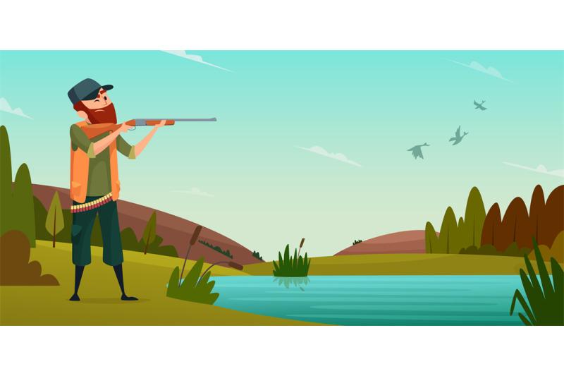 duck-hunting-background-cartoon-illustration-of-hunter-on-hunt