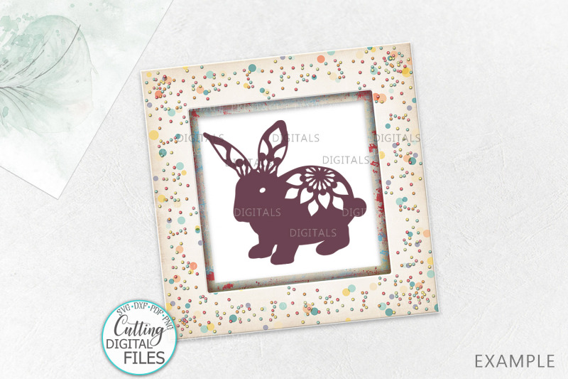Floral Easter Bunnies set paper cut laser cut svg dxf templates By