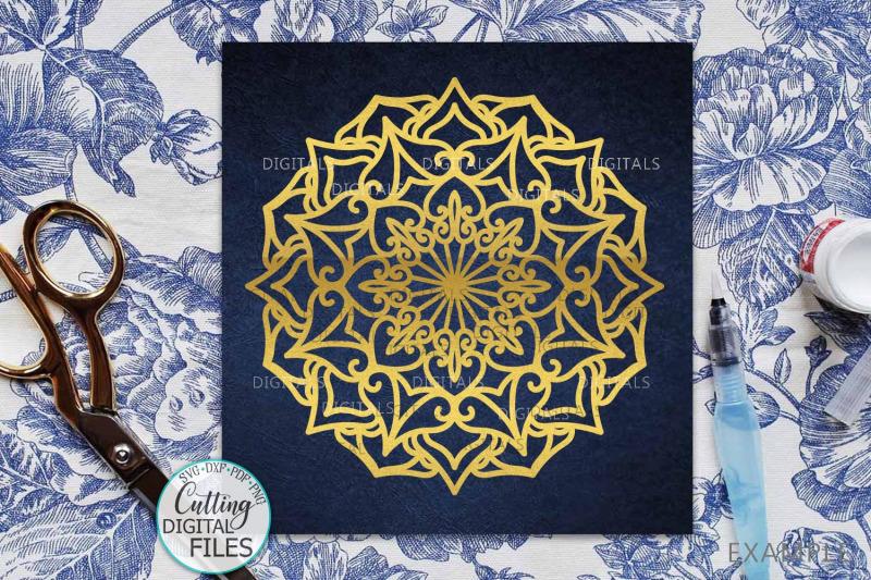 Mandala Set Corner Half Border Plotter Cut Svg Dxf Templates By