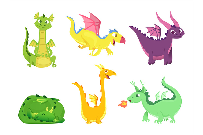 fantasy-dragons-cute-reptiles-amphibians-and-fairytale-dragons-with-b
