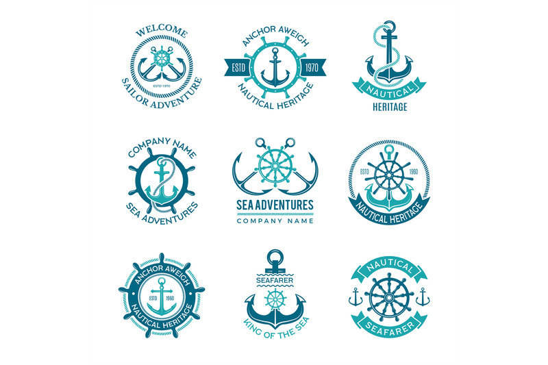 marine-logo-nautical-vector-emblem-with-ship-anchors-and-steering-whe