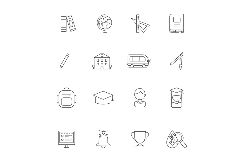 school-line-icons-science-linear-various-symbols