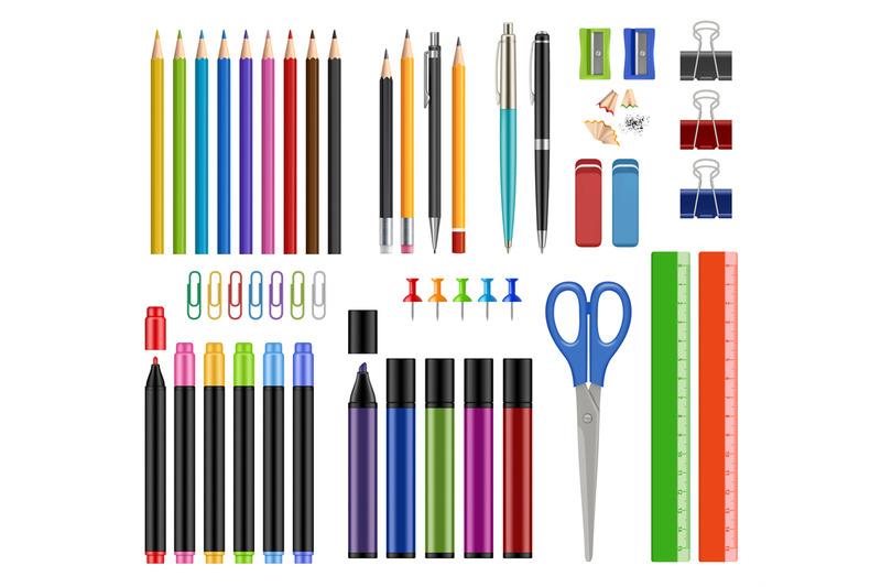 stationary-collection-pen-pencils-sharpen-rubber-school-education-too