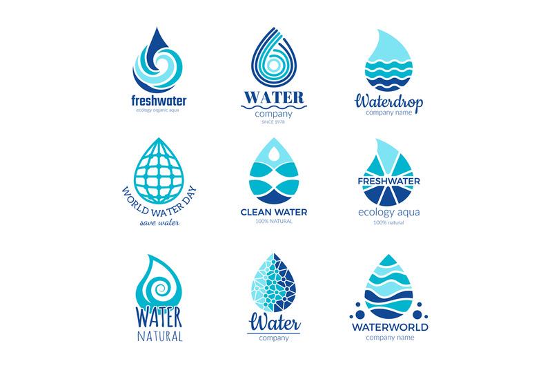 water-logos-aqua-water-drops-and-splashes-silhouette-health-rain-spa