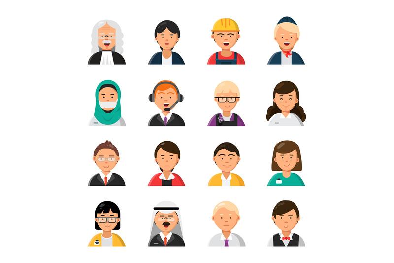 occupations-avatars-waiter-stewardess-judge-advocate-manager-builder