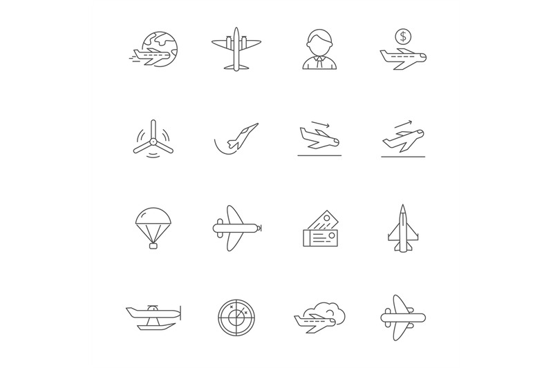 aircraft-line-icons-airplane-travelling-symbols-of-avia-company-vecto