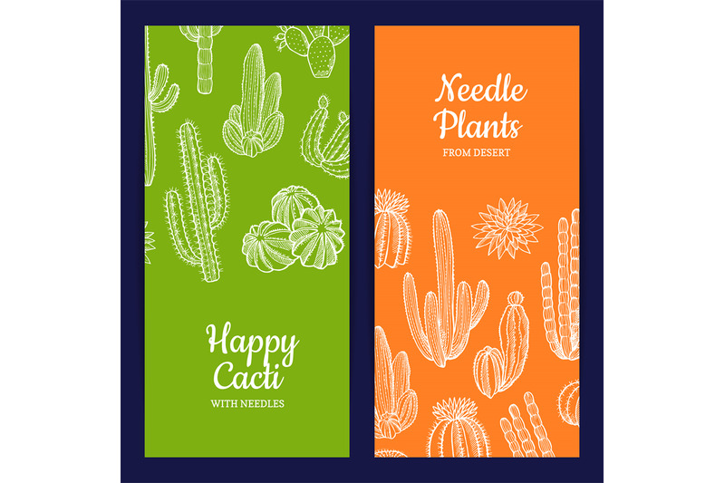 vector-hand-drawn-cacti-plants-web-banner-templates-illustration