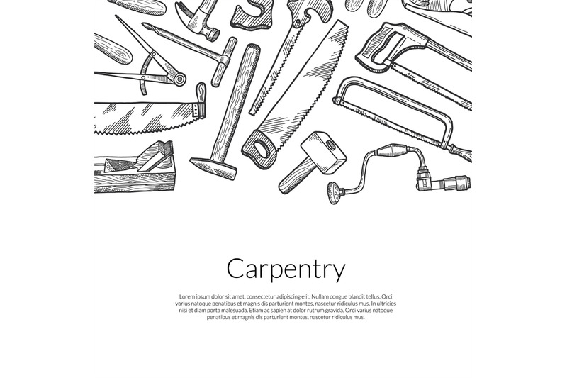 vector-hand-drawn-carpentry-elements-on-white