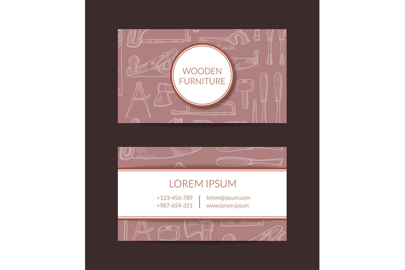 vector-hand-drawn-woodwork-elements-business-card