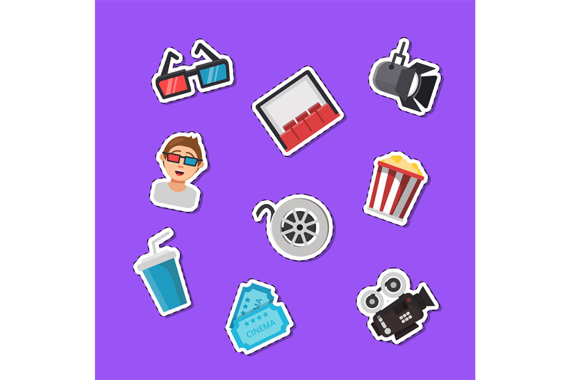 vector-flat-cinema-icons-stickers-set-illustration