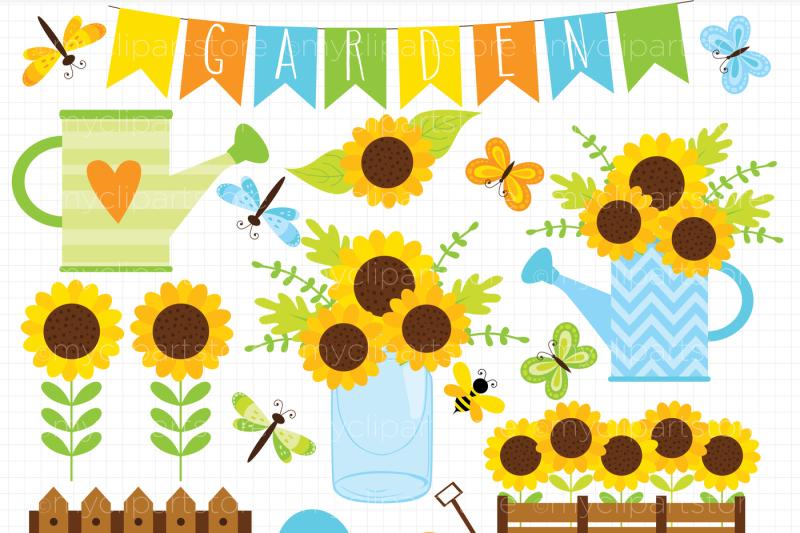 Sunflower Garden Spring Summer Vector Clipart By Myclipartstore Thehungryjpeg Com