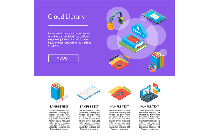 vector-isometric-online-education-icons-landing-page-template-illustra