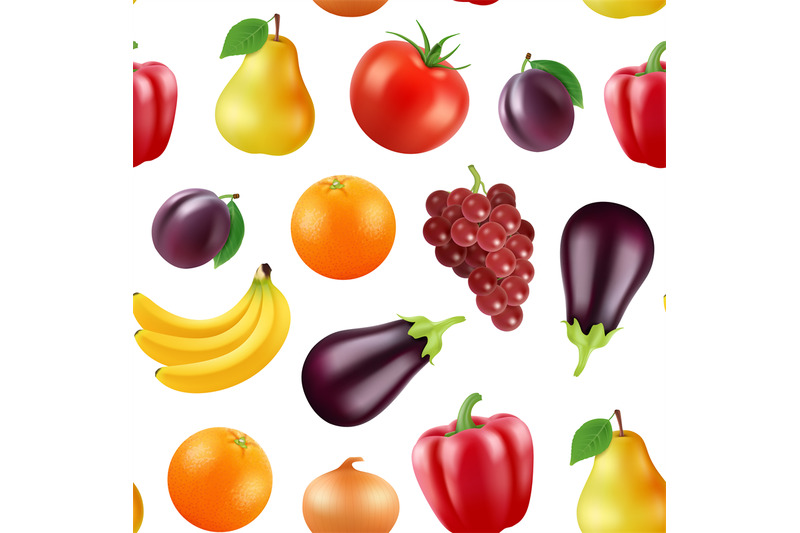 vector-realistic-fruits-and-berries-pattern-or-background-illustration