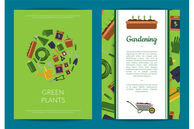vector-flat-gardening-icons-card-or-flyer-template-illustration