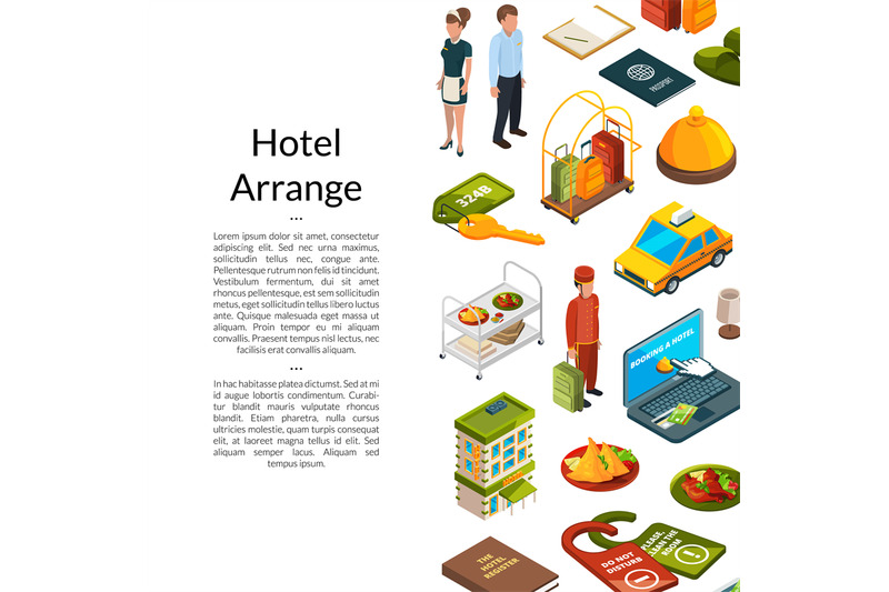 vector-isometric-hotel-icons-background-with-place-for-text-illustrati