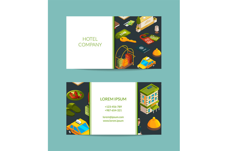 vector-isometric-hotel-icons-business-card-set