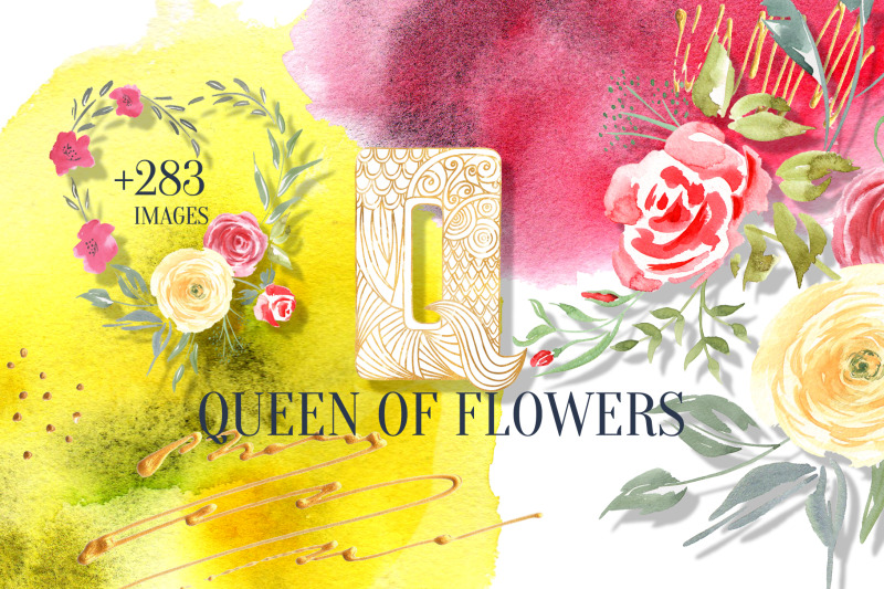 queen-of-flowers-watercolor-collection