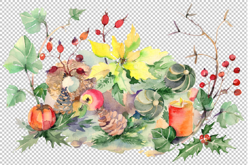 christmas-bouquet-snowstorm-watercolor-png