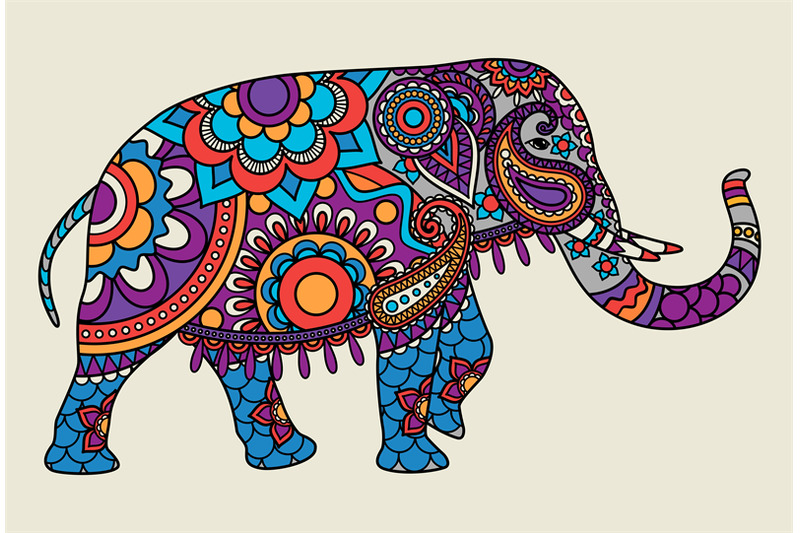 Indian ornate elephant colored illistration By ...